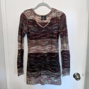 Multicolored Sweater Dress with Pockets